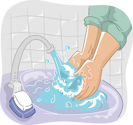washing hands: Cropped Illustration of a Person Washing His Hand on the Sink