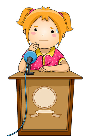 lectern: Illustration of a Nervous Girl Standing Behind a Podium Stock Photo