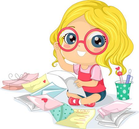 Illustration of a Little Girl Wearing Eyeglasses Reading Love Letters Stock Photo