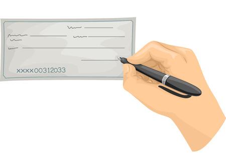 cheque en blanco: Ilustraci�n recortada de una mano firmar un cheque en blanco