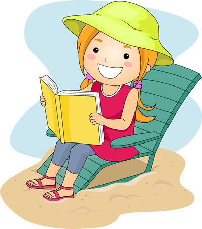 person reading: Illustration of a Little Girl Reading a Book by the Beach