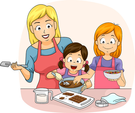 teaching children: Illustration of a Teacher Teaching a Pair of Girls How to Make Chocolates