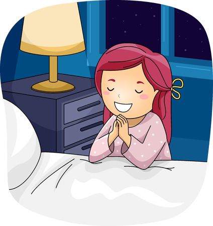 praying: Illustration of a Little Girl Praying Beside Her Bed