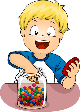 candies: Illustration of a Little Boy Sticking His Hand in a Jar of Candies