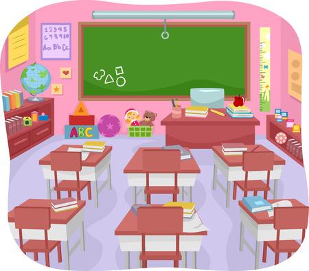 aula: Ilustración de un colorido aula preescolar Foto de archivo