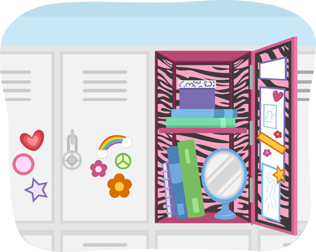 customized: Illustration of a School Locker Customized According to the Preference of the User