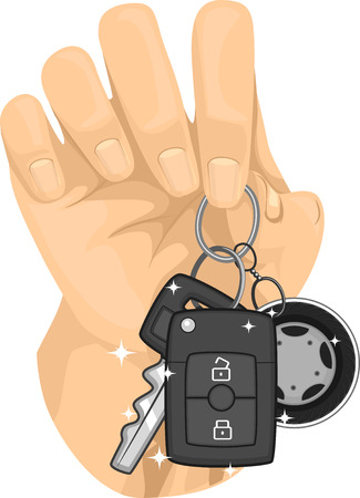 cropped: Cropped Illustration of a Hand Holding a Car Key Chained Together with a Remote Control