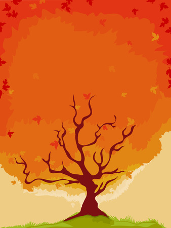 flaming: Background Illustration of a Maple Tree with Flaming Leaves Stock Photo