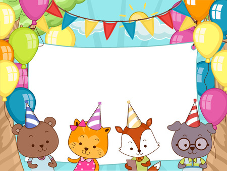 party hats: Banner Illustration of Cute Animals Wearing Party Hats