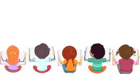 Top View Illustration of Kids Busy with Reading Books Banque d'images