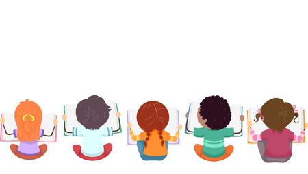 persona leyendo: Vista superior Ilustración de niños Ocupado con libros de lectura Foto de archivo