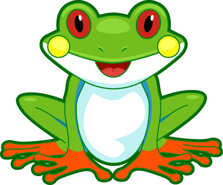 frog cartoon: Cutesy Illustration of a Tree Frog Flashing a Wide Smile