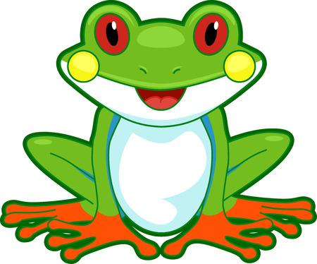 Schattige Illustratie van een boomkikker knippert een brede glimlach