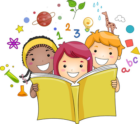 cartoon reading: Illustration of a Group of Kids Reading a Book While Education Related Icons Hover in the Background Stock Photo