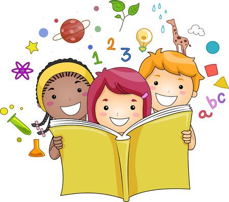 libro caricatura: Ilustración de un grupo de niños leyendo un libro mientras Educación Iconos relacionados Hover en el fondo Foto de archivo