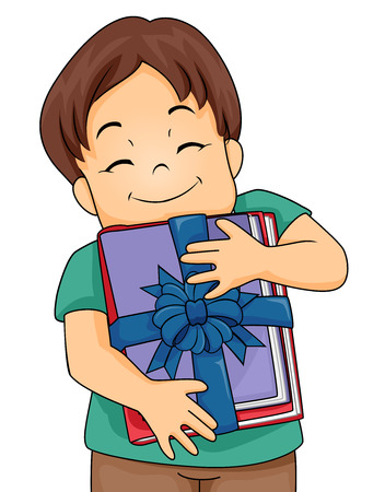 children book: Illustration of a Little Boy Hugging a Stack of Books Given to Him as a Present