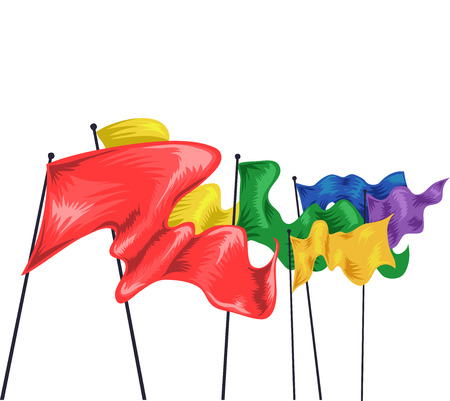 flags: Illustration of Colorful Flags Fluttering in the Air Stock Photo