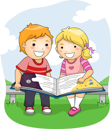art book: Illustration of a Boy and a Girl Reading a Big Book Outdoors