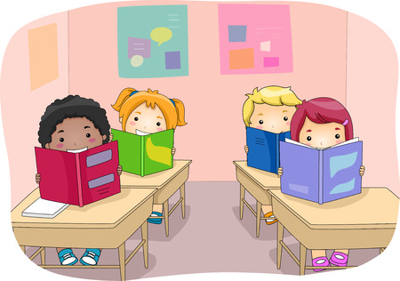 schoolmate: Illustration of Little Kids Reading Books in Class Stock Photo