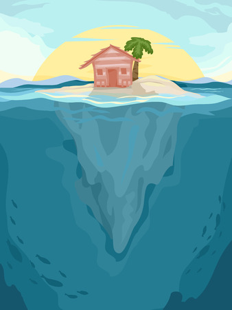 cabin: Background Illustration of a Beach Cabin in an Isolated Island Stock Photo