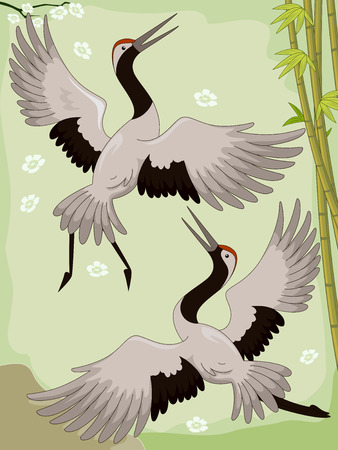 arts symbols: Illustration of a Pair of Cranes Flying Near a Bamboo Forest