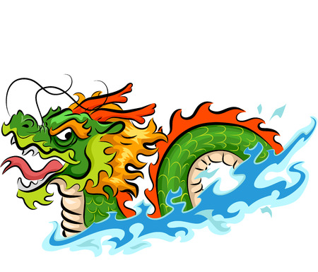 chinese dragon: Illustration of a Green Dragon with Blue Waves Under It