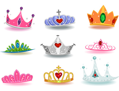 king: Illustration Featuring a Collection of Crowns with Different Designs Stock Photo