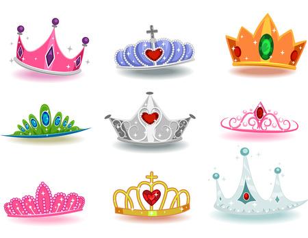 king: Ilustraci�n que ofrece una colecci�n de coronas con diferentes dise�os