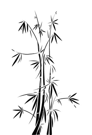 intertwined: Black and White Stencil Illustration of Intertwined Bamboos