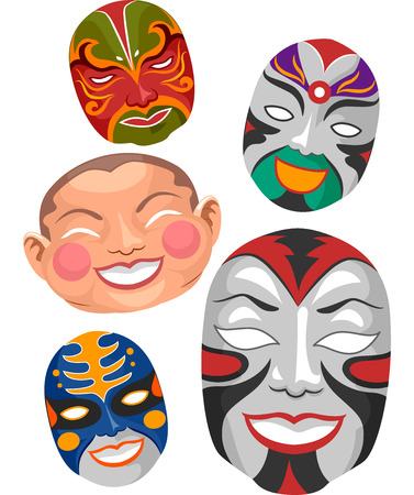 chinese opera: Illustration of Chinese Masks Typically Seen in Operas and New Year Celebrations Stock Photo