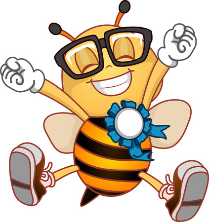 bees: Illustration of a Happy Bee with a Ribbon Pinned on Him
