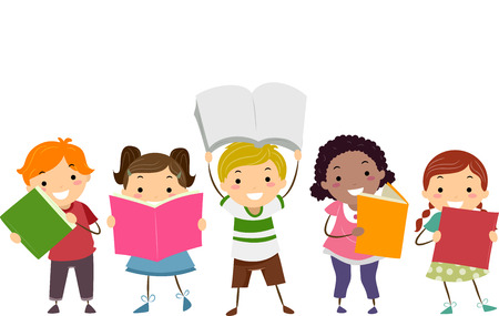 little child: Doodle Illustration of Kids Showing the Books That They are Reading Stock Photo