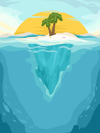 islet: Background Illustration of a Tiny Islet in the Middle of the Sea