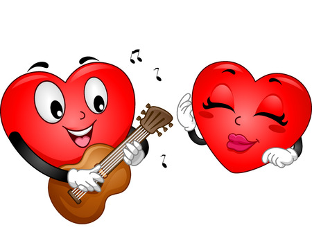 serenading: Background Illustration of a Heart Mascot Serenading A Female Heart Mascot