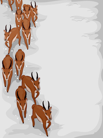 animal in the wild: Illustration of a Herd of Antelopes Migrating to Escape the Winter Season Stock Photo