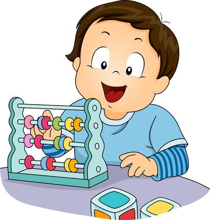 abaco: Ilustración de un niño jugando con un ábaco Foto de archivo