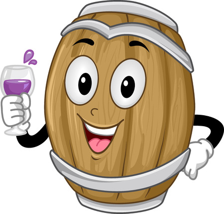 barrels: Background Illustration of a Wine Barrel Holding a Glass of Wine