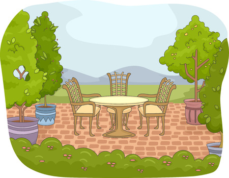 patio: Illustration of a Backyard Patio with a Garden Nearby