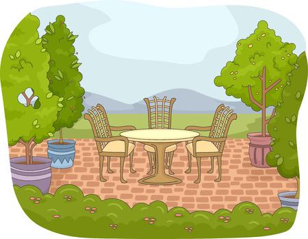 garden patio: Illustration of a Backyard Patio with a Garden Nearby