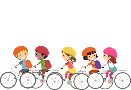 cartoon kids: Doodle Illustration of Little Kids Wearing Helmets While Biking