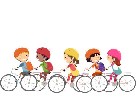 niños en bicicleta: Doodle Ilustración de Little Kids con cascos Mientras Ciclismo Foto de archivo