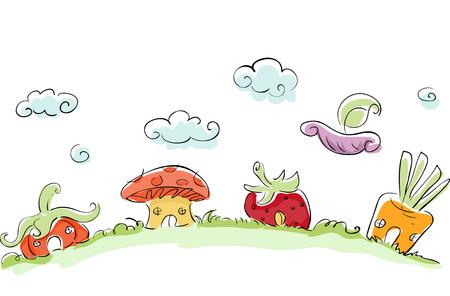 whimsical: Whimsical Illustration of Houses Shaped Like Vegetables