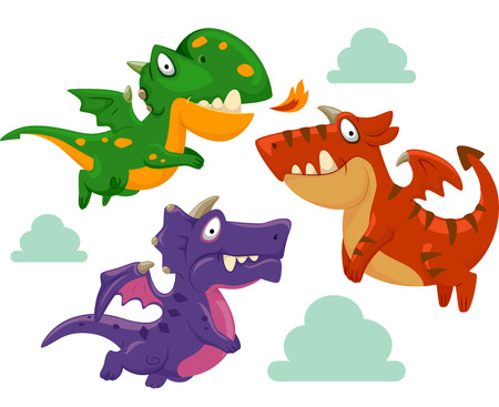 gatherings: Illustration of Colorful Dragons Gathering Around