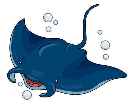 Cutesy Illustration of a Manta Ray Swimming in the Ocean 版權商用圖片