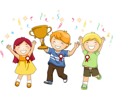 achievement clip art: Illustration of a Group of Kids Celebrating Their Victory