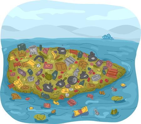 basura: Ilustración de un parche de basura lleno de basura en el medio del océano