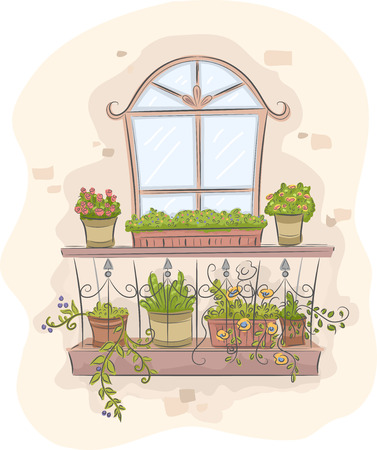 Illustration of a Balcony Garden Full of Colorful Plants