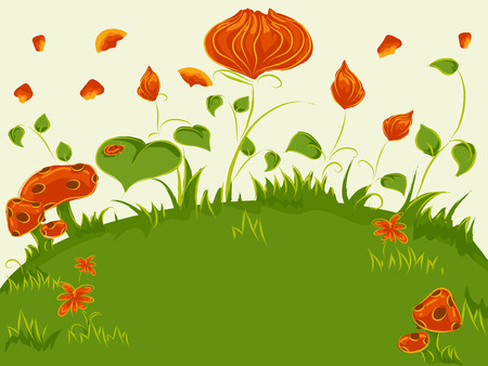 vegetable gardening: Whimsical Illustration of Colorful Plants in the Middle of a Grassland