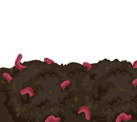 fertilizing: Illustration of a Bunch of Earthworms Fertilizing the Soil Stock Photo