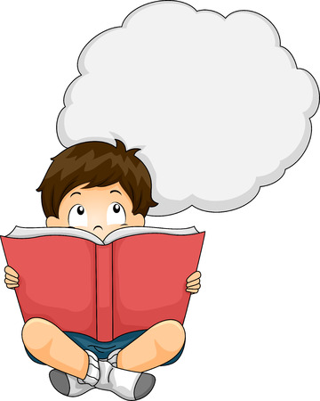 him: Illustration of a Little Boy Reading a Book While a Thought Bubble Hovers Above Him Stock Photo